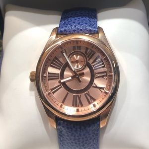 Rose Gold Blue Leather Watch